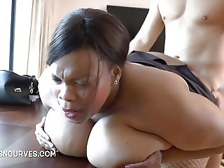 Busty Cookie fucked on the table by her boss