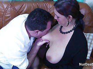 German Mom With Monster Tits in Casting with Dad for Money