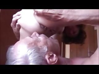 Old Cuckold eating anal cum