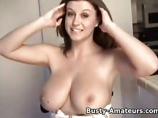 Busty Sara Stone showing her tits and pussy on interview