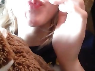 Horny blond fingers wet big lip pussy