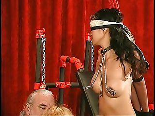 Two young asians with clamped tits get roped and bound together
