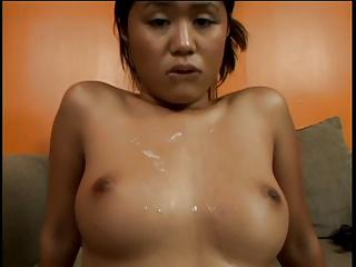 Asian whore kneels for her man and gives perfect blowjob in exchange for a load