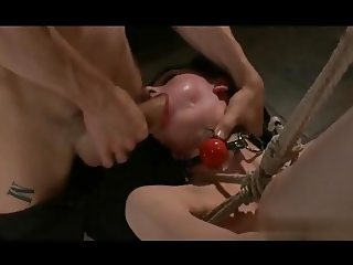 Hanging tied up emo slut gets fucked