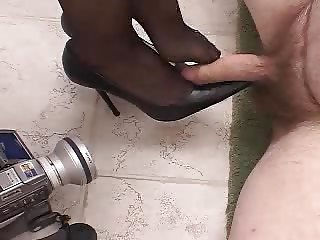 cock treated with shoes, foot and hand