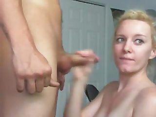 Hot Blonde Deep Throats, Fucks and Takes A Cum Shot