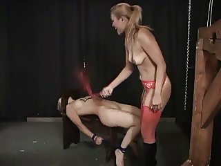 Sexy chicks in leather dildo fucking