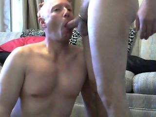 Gay sissy faggot Mike Karacson shaved gives blowjob sucks cock oral sex