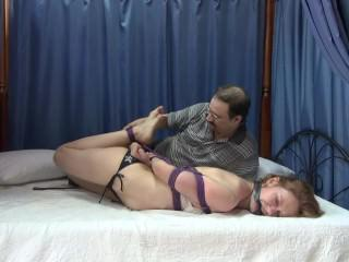 Hogtied on Bed with Tickle and Spank