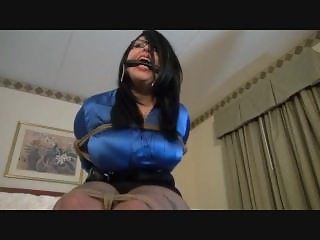 BBW tied gagged and drooling on her big tits