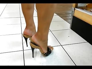 Mature legs & feet in high heels mules (best of)