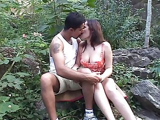 Sultry MILF senorita sucks and fucks some hombre in a forest
