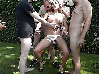 Julie skyhigh gangbanged in leather & heels anal & creampie