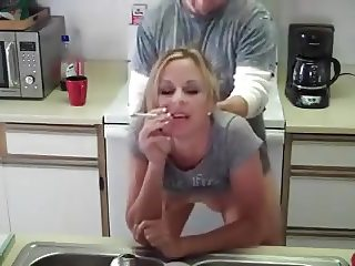 smoke fuck in kitchen