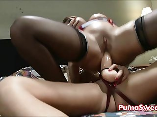 Pizza Delivery Girl Puma Swede Fucks Ava with Strapon!