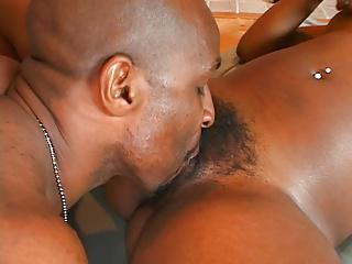 Ebony chick takes on a big hard cock