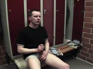 Kroussibo in public locker room 3/3 with SelfSuck and cum