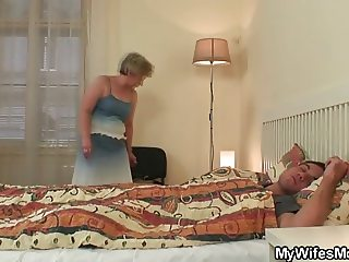motherinlaw swallows his cock