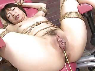 Girl's tight pussy is pounded hard with a fuck machine