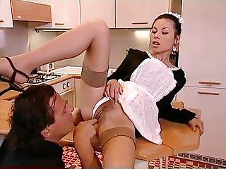 Alluring Brunette Maid - Kitchen Anal