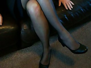 mature stewardess legs and feet in nylon