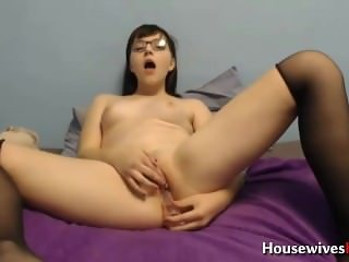 Barely legal 19 Rose Blossom penetrates pussy