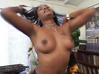 Black librarian slut sucking white cock