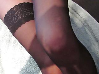 cumming on beautiful nylon slut's legs