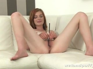 Cute slut teasing her lovely shaved pussy