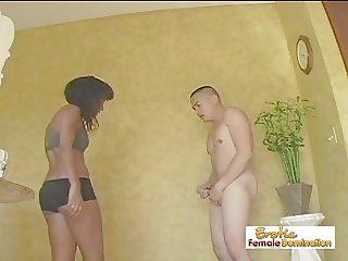 Ebony Girl Sucks Cock And Tortures Her Plumber