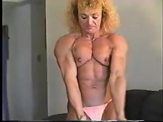 ripped old school fbb nude posing