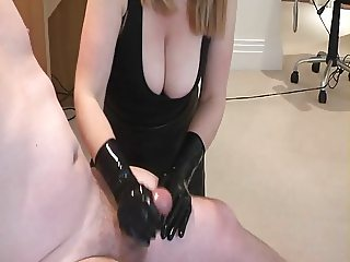 Busty housewife taunts husband during brutal handjob