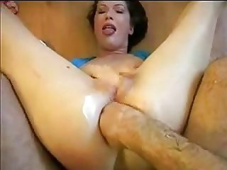 Chick takes brutal fisting and deep throat