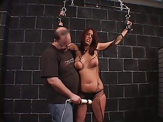 Big tits hottie bound and teased by her horny master