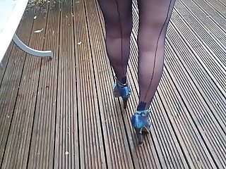 Blue fully fashioned nylons in my garden Part 1