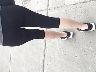 Sexy teen ass in leggings with thong