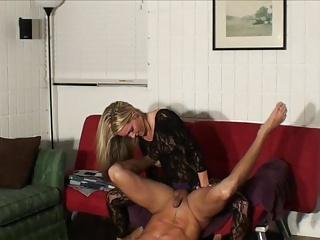 Hot Chick Fucks Him with a Strap On