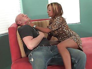 Long legs mature milf with big tits fucks great