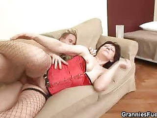 Granny In Lingerie Fucked And Jizzed On