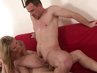 Blonde plays with dude's dick while he gets fucked by hot stud