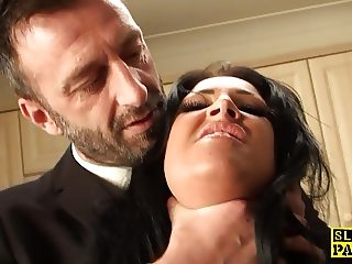 Chubby brit swallowing cum after a rough fuck