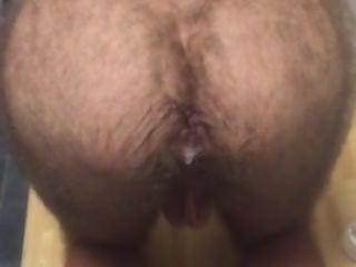 Farting dad's cum out of my hairy butt