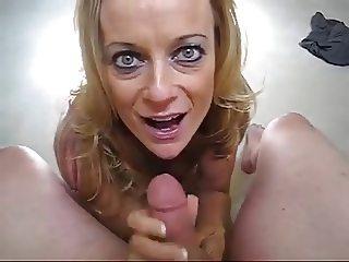 Blond MILF swallowing my cum