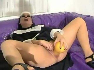 Nun fucks huge bottle gourd
