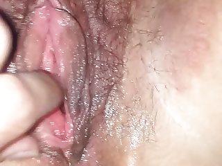 Sexy wife's big clit hairy sloppy wet pussy