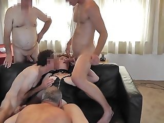Bare gangbang with dutch rubens mature and seven cocks party