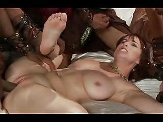 Redhead in Hard Rough Interracial Gangbang with Creampie