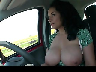 Donna Ambrose AKA Danica Collins - Driving flasher