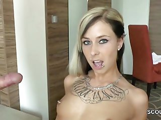 German Skinny Teen Hooker get fuck by older Man for Money