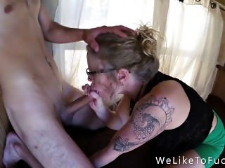 Eager Nympho In Glasses Gets A Creamy Facial